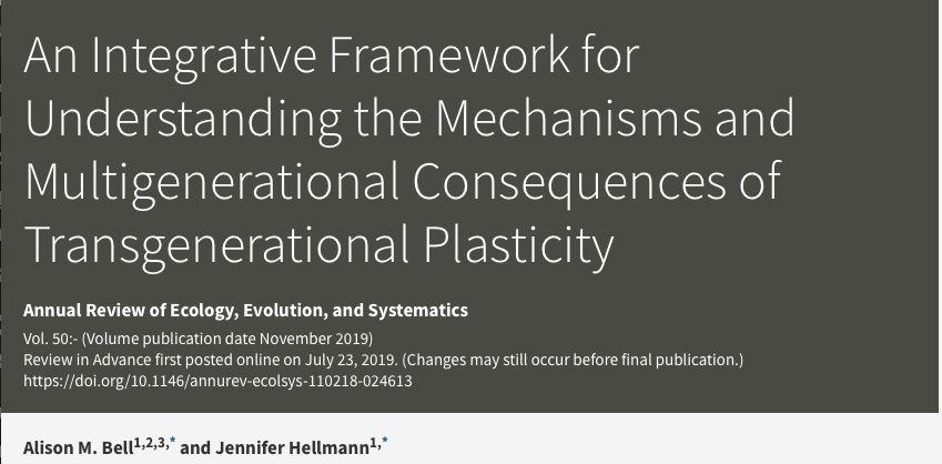 New review on the mechanisms and multigenerational consequences of transgenerational plasticity now available online!